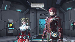 """物語の始めでピンチに陥ったプレイヤーと相棒の""""アフィン""""の救援に現れる、先輩アークスの""""ゼノ""""とその相棒の""""エコー"""""""