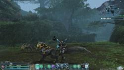 """プレイヤーが初めて訪れることになる惑星""""ナベリウス""""の""""森林""""フィールド。狼に似た""""原生種""""""""ガルフ""""は壁を使った三角飛びに警戒を!"""