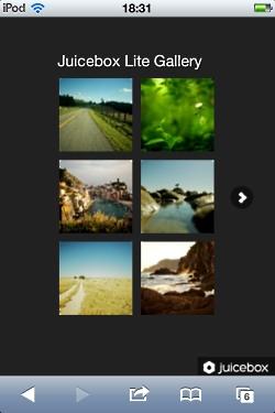 「Juicebox-Lite」で作成したサンプル作品をiPod touchで閲覧した様子