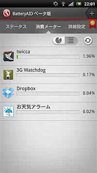 実行中のアプリを一覧表示し、各アプリのバッテリー使用率を確認できる