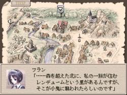 """登場キャラクターのひとり""""メイド忍者""""のフラン。キャラクターイラストは雰囲気にマッチしつつもわりと今風な感じです"""