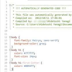 「OrangeBits Compiler」がバックグラウンドで自動的にCSSファイルへ変換