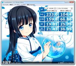"""背景画像に""""水晶雫""""のイラストをあしらった特別版「CrystalDiskMark 3 Shizuku Edition」"""