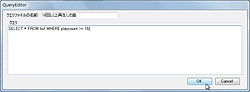 任意のSQL文を登録可能