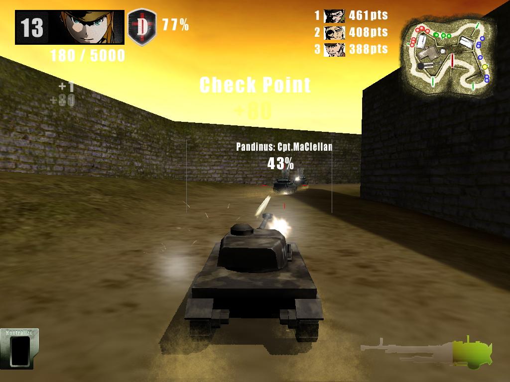 戦車でドンパチしながらポイントを稼ぐバトル形式のレースゲーム