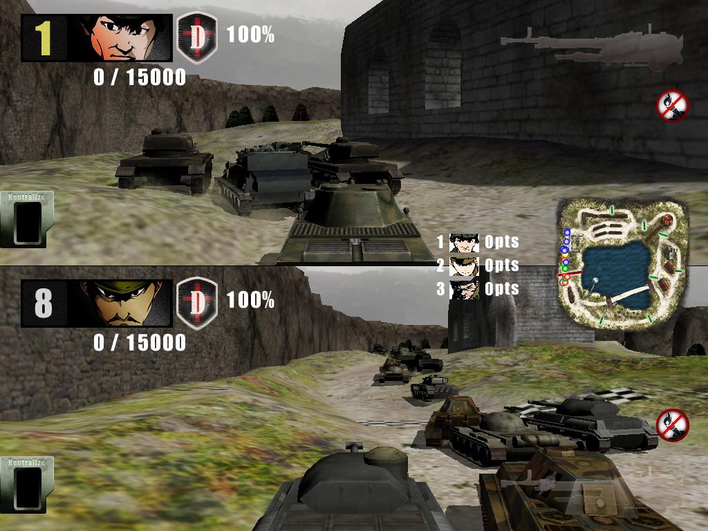 コントローラーは2つ必要だが、画面分割による2人対戦も楽しめる