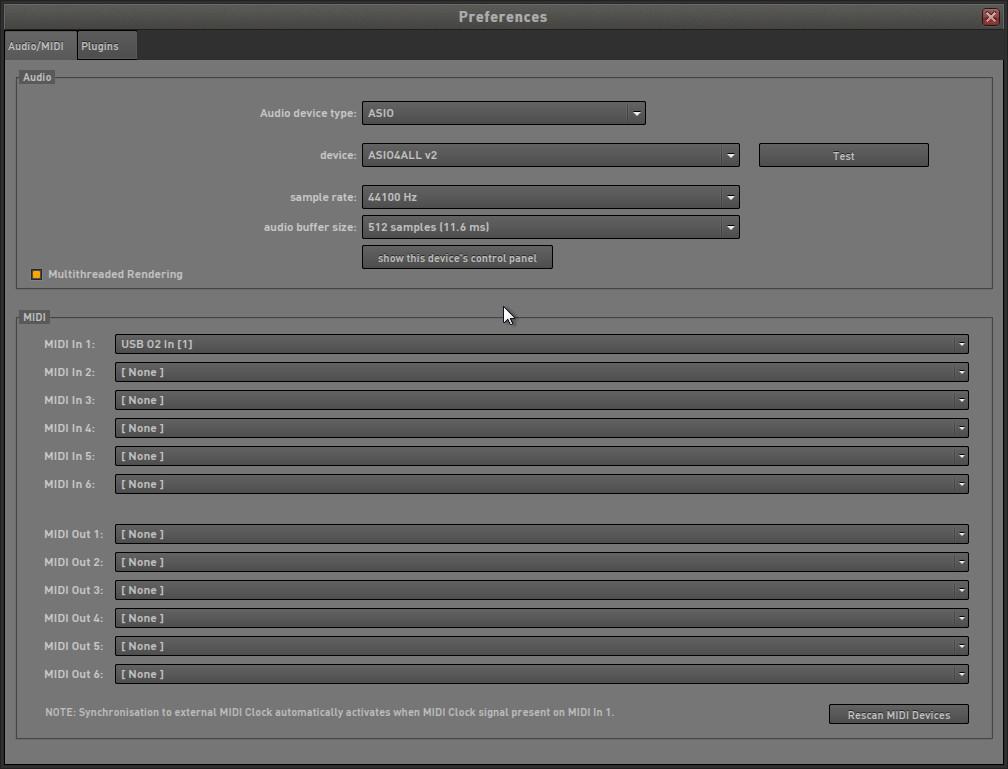 """""""Preferences""""ダイアログの[Audio/MIDI]タブ"""