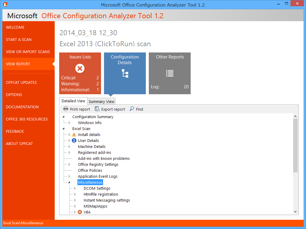 システム内の「Microsoft Office」をスキャンし、設定やその問題点を詳細にレポート