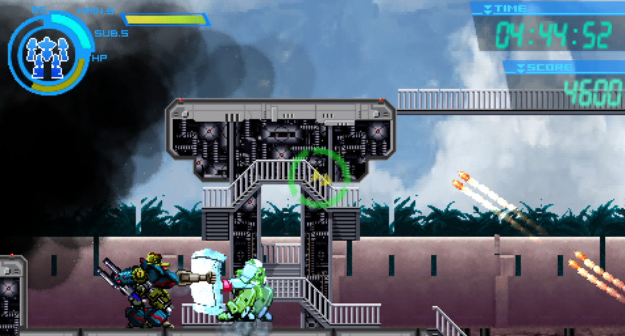 盾を持った敵機に有効なパンチ攻撃のハードブロウ