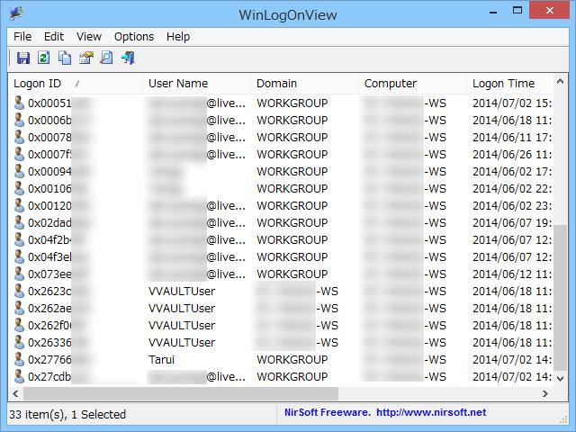 「WinLogOnView」v1.03