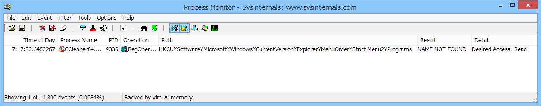 """「Process Monitor」による検証では、""""~MenuOrder\Start Menu2\Programs""""キーへのアクセスを確認。推測だがバイナリ値""""Order""""の削除を目的としているのだろう"""