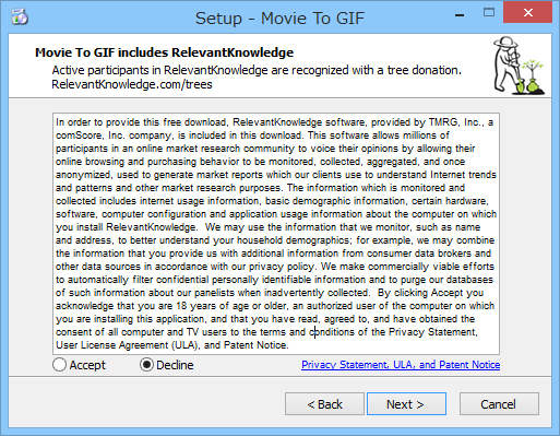 """セットアップ時に広告ソフト「<a href=""""http://www.relevantknowledge.com/"""" class=""""n"""" target=""""_blank"""">RelevantKnowledge</a>」のインストールが案内されるので注意"""