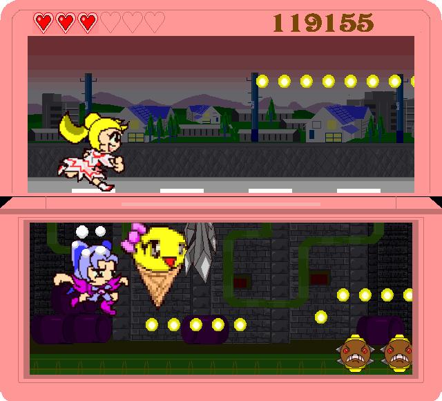 上下の2画面を同時に見ながら操作するのが思いのほか難しい。妖精の力を借りつつ、少しでも長生きしてスコアを稼ぐ