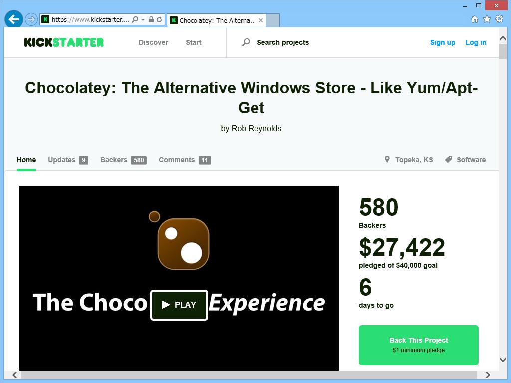 """""""Kickstarter""""に設けられた「Chocolatey」の資金調達プロジェクトのページ"""