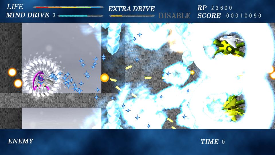 MIND DRIVEは敵弾を凍らせて無効化するだけでなく、一時的ながら無敵にもなる。緊急回避と攻撃強化の両面で使える