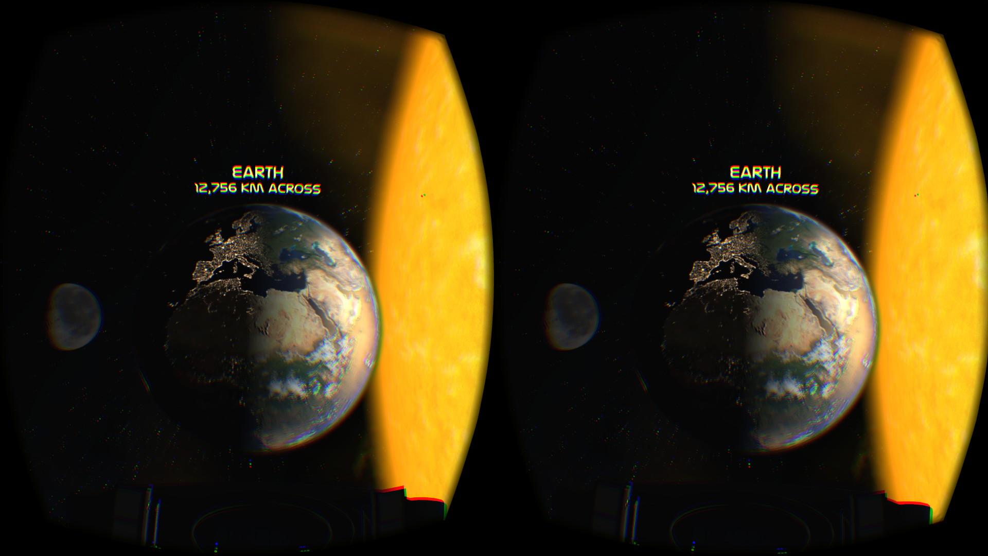 非常に小さな一人乗りの宇宙船に乗っている。目の前には美しい地球が広がる