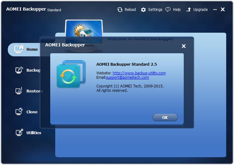 「AOMEI Backupper Standard」v2.5