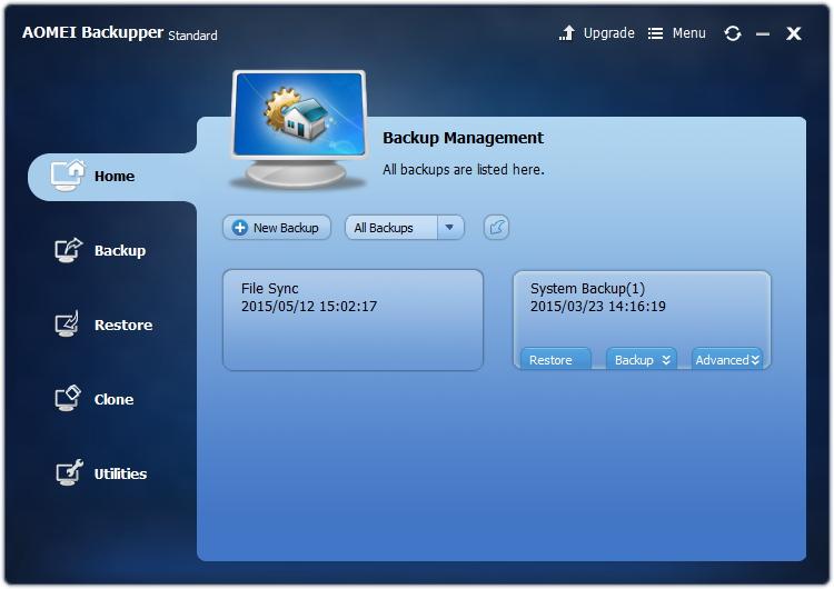 「AOMEI Backupper Standard」v3.0