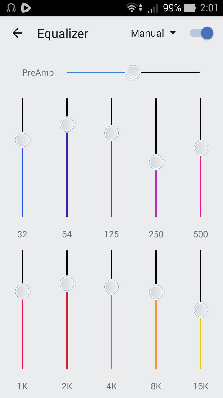 イコライザー画面では、10バンドのスライダーを動かして音質を調整できる