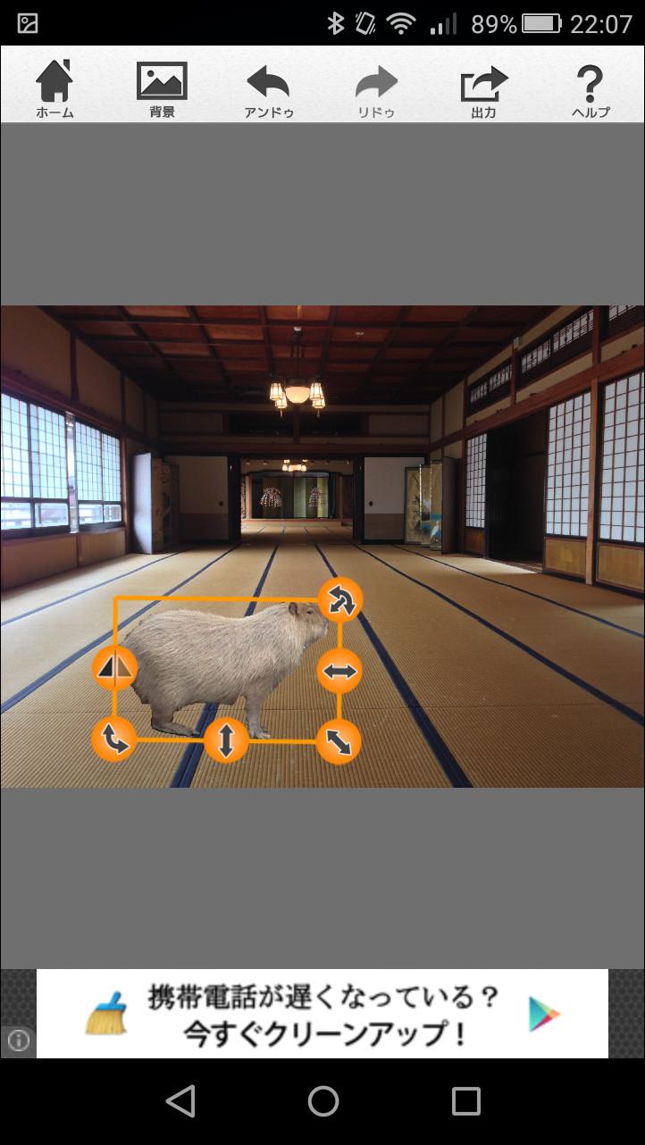 被写体をドラッグして移動できるほか、拡大・縮小や角度の調整を行える