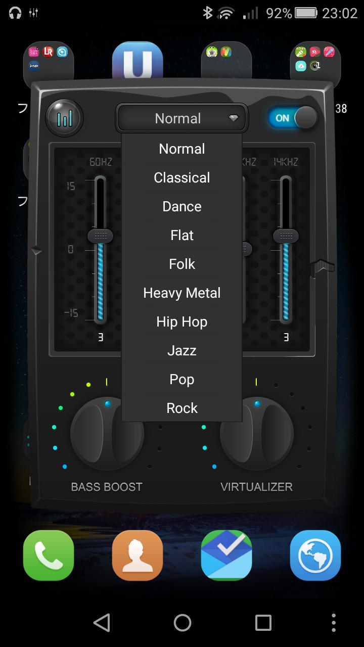 [Normal]ボタンをタップして表示される一覧から音楽ジャンルごとのプリセットを選択可能