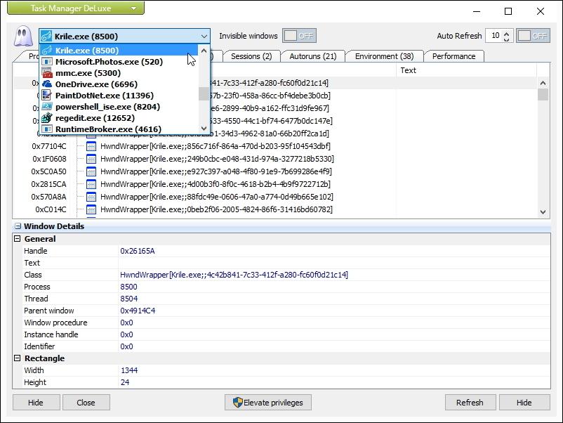 プロセスに所属するウィンドウを列挙する[Windows]タブ
