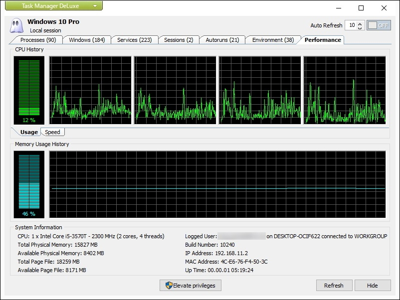 [Performance]タブではCPU利用率とメモリ使用量の推移がリアルタイムでグラフ表