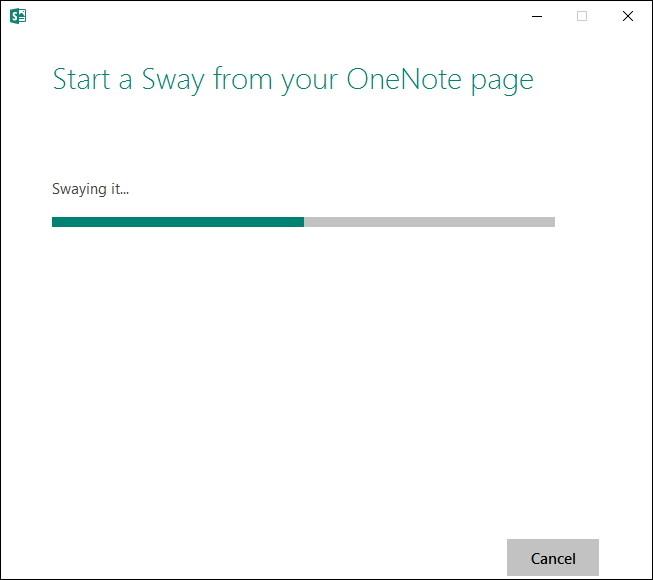 「OneNote」のコンテンツを「Sway」へ送信