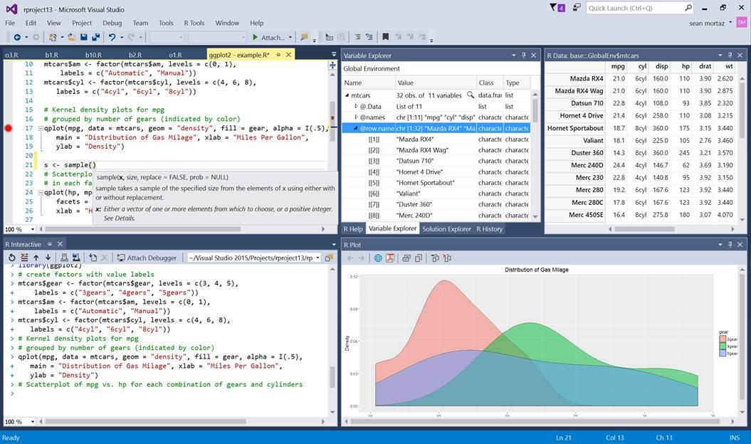 「Visual Studio」にR言語サポートを追加(同社ブログより引用)