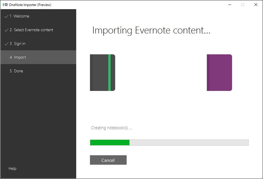 ウィザードに従って手続きを進めていくだけで簡単に「Evernote」から「OneNote」へデータを移すことが可能