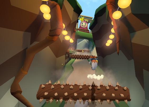 上からトゲ付きの丸太が転がってくる坂道を登るシーン。ラッキーと一緒に上を見上げる
