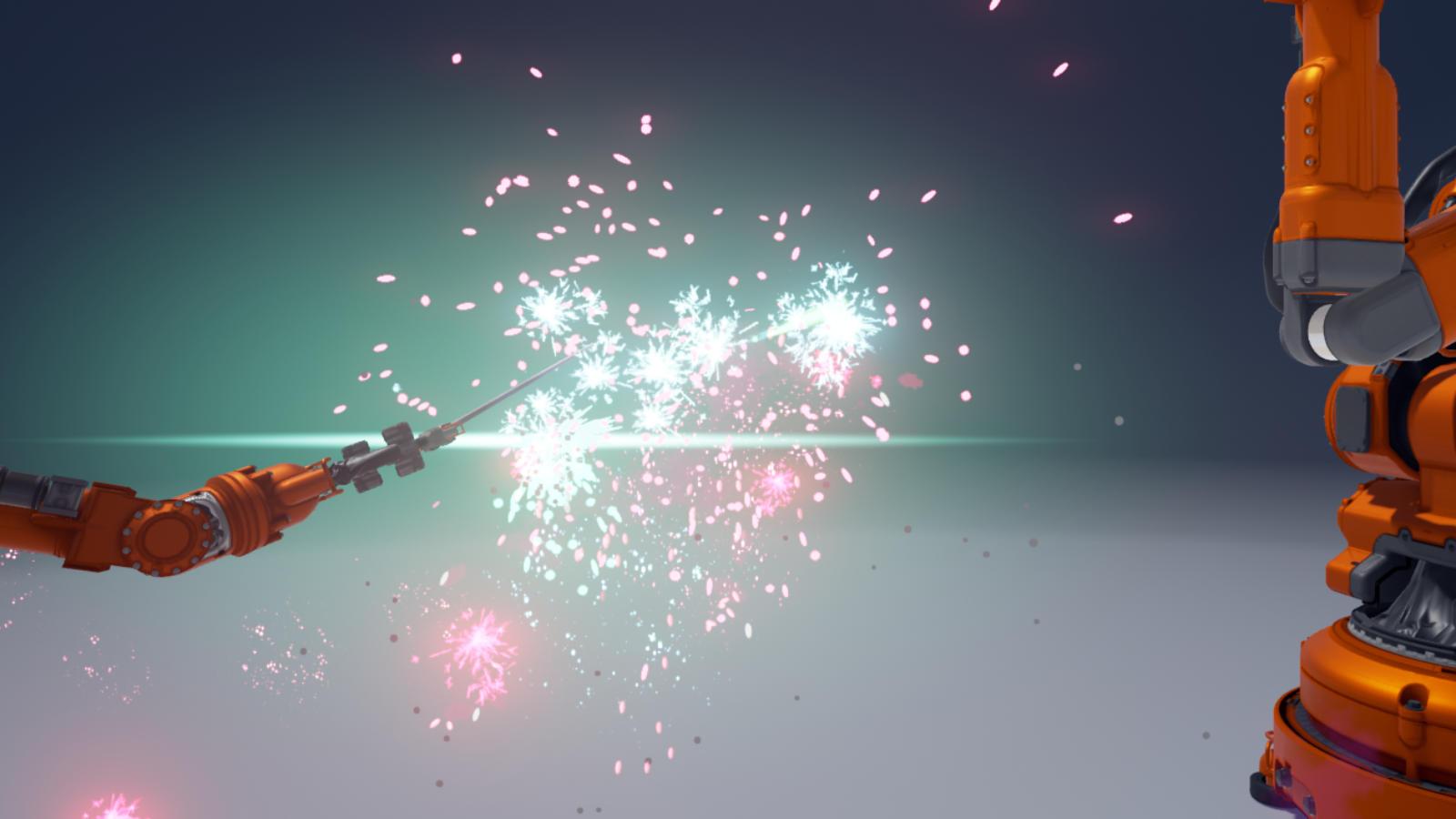 アヒルの人形を取り合ったり、杖で光を出して戦ったりと仲の良い工作用機械たち