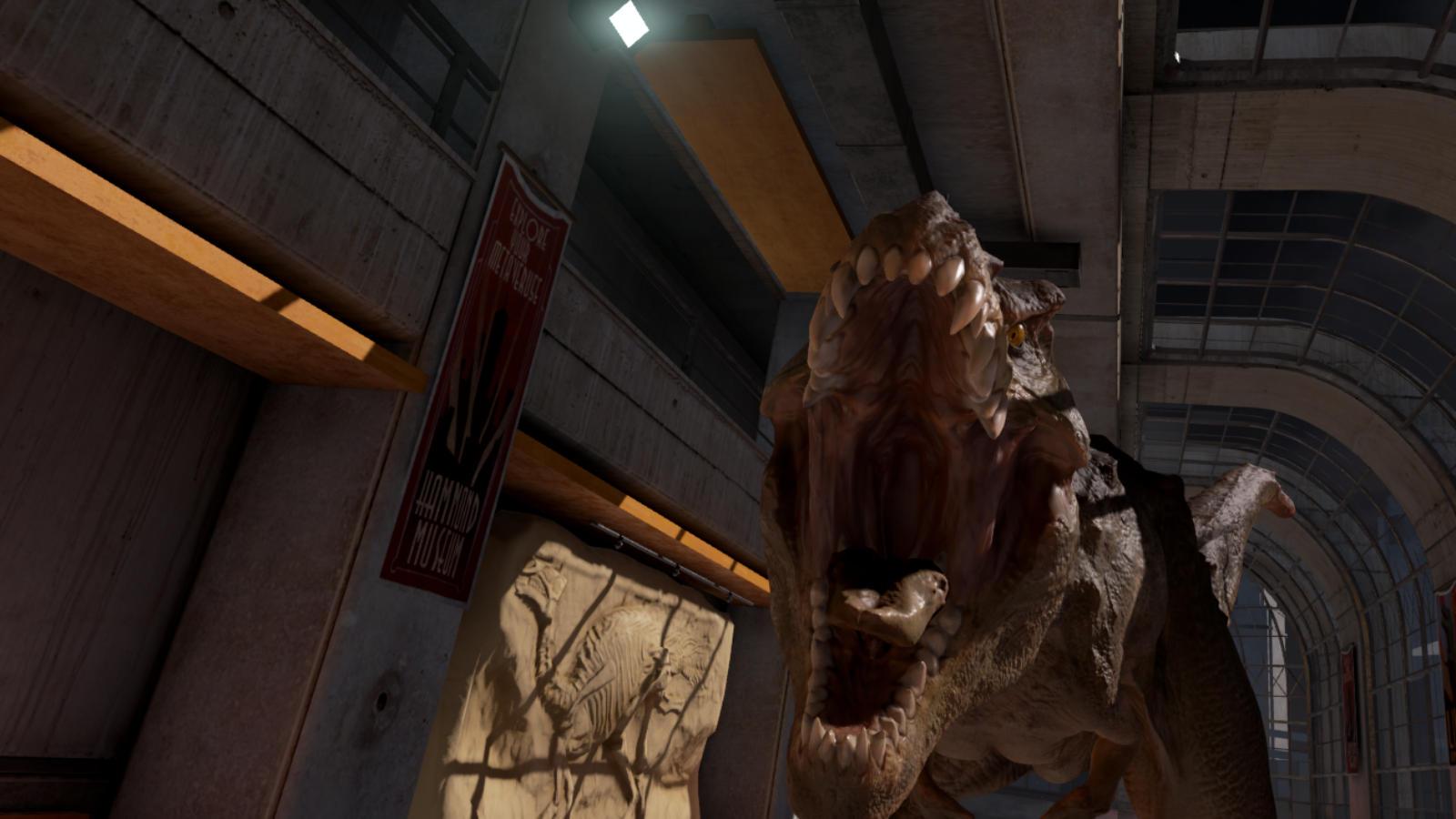 廊下の奥からこちらにくる恐竜の迫力に思わずたじろいでしまう
