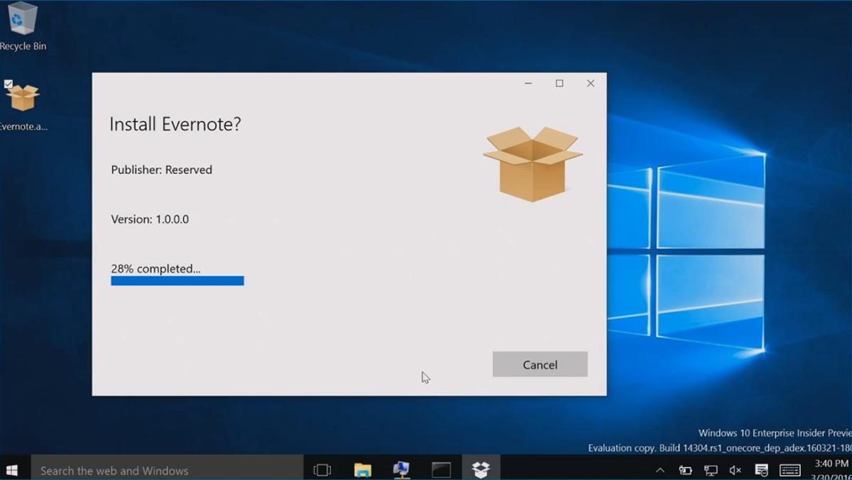 """Build 2016""で披露した「Desktop App Converter」のデモンストレーション。デスクトップアプリ版の「Evernote」をUWPアプリケーション化する様子"